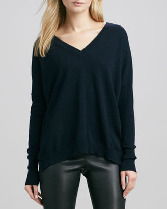 Vince Relaxed V-Neck Cashmere Sweater, Coastal