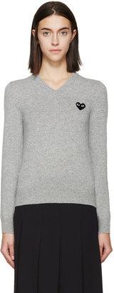 Comme des Garcons Grey Black Emblem Sweater