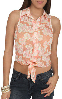 Wet Seal WetSeal Sleeveless Lace Tie-Front Shirt Orange