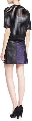 3.1 Phillip Lim Short-Sleeve Knit Cropped Pullover, Black