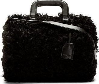 3.1 Phillip Lim Black Shearling Wednesday Medium Boston Satchel