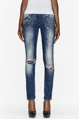 Balmain PIERRE Blue slim-fit distressed leopard print jeans
