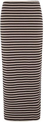 Dorothy Perkins Black/stone striped maxi skirt