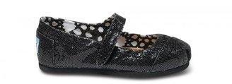 Toms Black Glitter Tiny Mary Janes