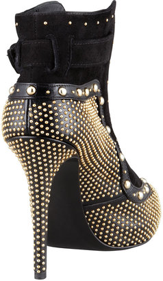 Alexander McQueen Studded Leather Lace-Up Bootie, Black