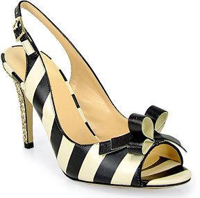 Kate Spade Claudia - Black and Cream Striped Peep Toe Pump