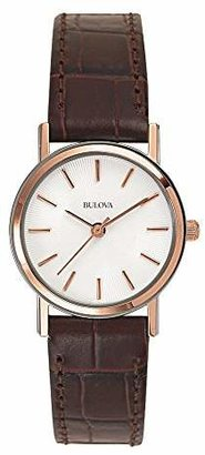Bulova Women's 98V31 Stainless Steel Watch With Brown Leather Band $175 thestylecure.com