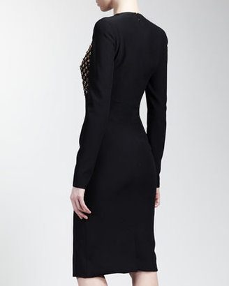 Alexander McQueen Long Sleeve Embroidered-Front Dress