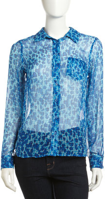 Equipment Brett Leopard-Print Silk Chiffon Blouse, Electric Blue