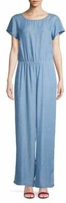 Halston H Boatneck Chambray Jumpsuit