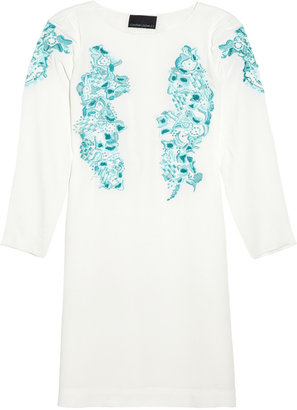 Cynthia Rowley Scribble embroidered crepe dress