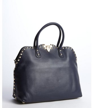Valentino marine blue leather studded convertible tote