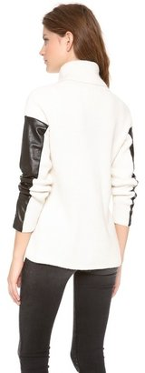 Milly Leather Sleeve Turtleneck Sweater