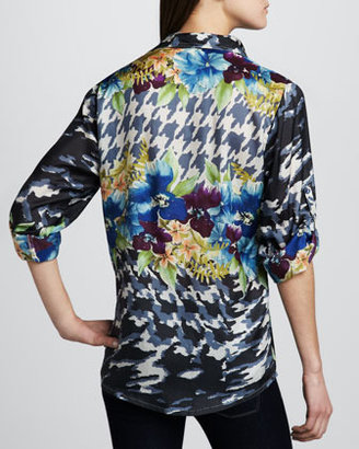 Johnny Was Collection Mixed-Print Georgette Top, Women's