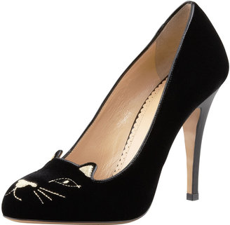 Charlotte Olympia Kitty Cat-Embroidered Velvet Pump