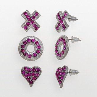 "XOXO silver tone simulated crystal heart, ""x"" & ""o"" stud earring set"