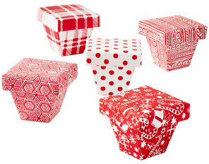 Container Store Mini Gift Box Red and White Pattern Assorted