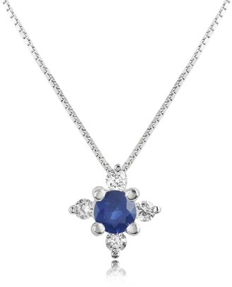Diamond and Sapphire Flower 18K Gold Pendant Necklace
