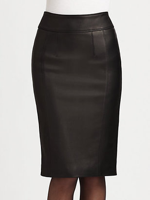 Burberry Stretch-Leather Pencil Skirt