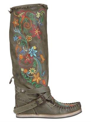 EL VAQUERO 90mm Embroidered Calfskin Boots