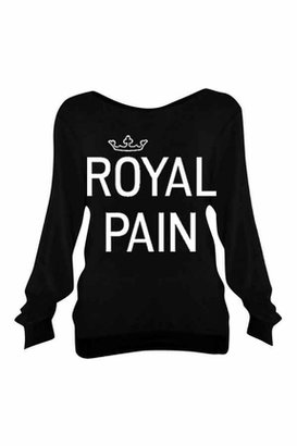 Wildfox Couture Royal Pain Baggy Beach Jumper in Clean Black