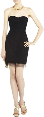 BCBGMAXAZRIA Roselle Fitted Strapless Lace Dress