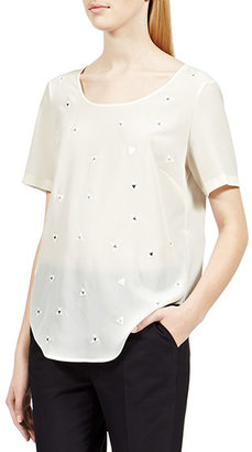Reiss Coral EMBELLISHED WOVEN T-SHIRT