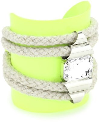 Noir Highlight Cord and Crystal Adorned Neon Cuff Bracelet