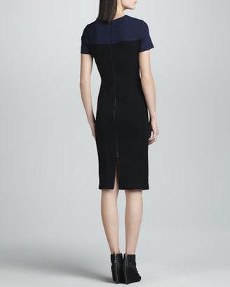 Narciso Rodriguez Colorblock Pebble Crepe Jersey Dress, Teal/Multi