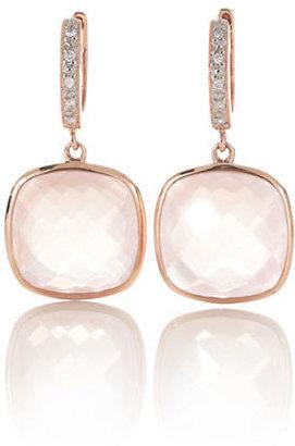 Gump's Rose Quartz & Diamond Earrings