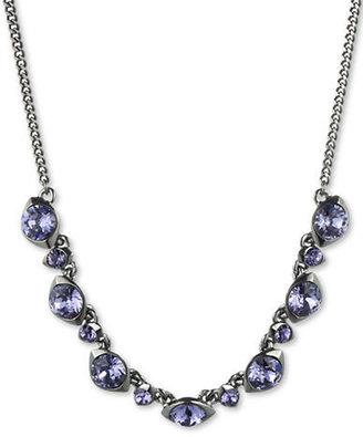 Givenchy Hematite-Tone & Tanzanite Swarovski Crystal Frontal Necklace