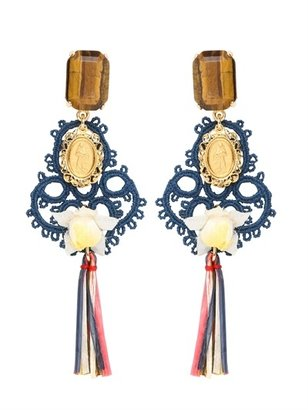 Dolce & Gabbana Clip On Pom Pom Raffia Earrings