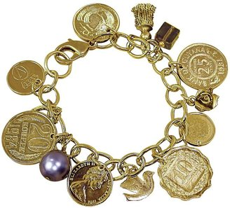 American Coin Treasures Goldtone-Layered Foreign Coins Charm Bracelet Coin Jewelry