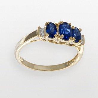 10k Gold Lab-Created Sapphire & Diamond Accent 3-Stone Ring