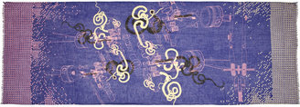 We Are Owls Printed cashmere and silk-blend scarf