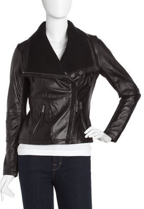 MICHAEL Michael Kors Asymmetric Knit-leather Jacket, Black