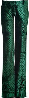 Balmain Bottle Green Laser Cut Velvet Pants
