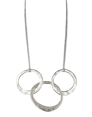 Kenneth Cole NEW YORK Hammered Silvertone Three-Ring Necklace