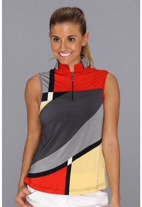 Pucci DKNY Golf - Geo Print Sleeveless Top (Flamenco Red) - Apparel