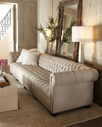 """Old Hickory Tannery Hudson Tufted-Linen Sofa, 131""""L"""