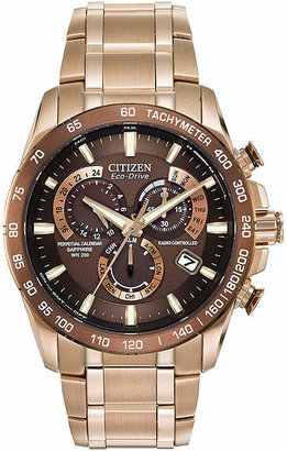 Citizen Pcat Mens Chronograph Multi-Function Atomic Time Rose Goldtone Stainless Steel Bracelet Watch-At4106-52x