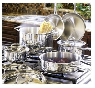 KitchenAid Stainless-Steel Tri-Ply Cookware Set, 10 Pieces