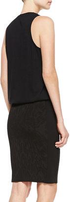 Faith Connexion Mixed-Print Sleeveless T-Shirt Dress with Pencil Skirt