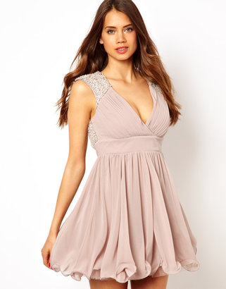 Lipsy VIP Prom Dress with Embellished Shoulder
