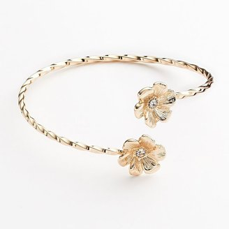 Lauren Conrad gold tone simulated crystal flower twist cuff bracelet