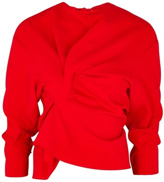 A.W.A.K.E. Mode Red Ruched Cady Top