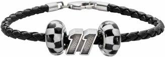 "Insignia Collection NASCAR Denny Hamlin Leather Bracelet & Sterling Silver ""11"" Bead Set"