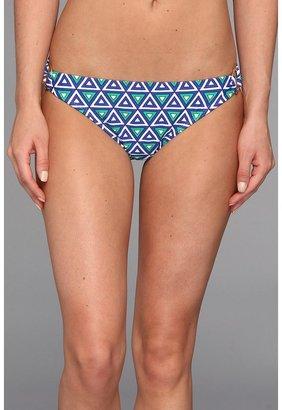 Shoshanna Mediterranean Geo Print Ring Bikini Brief (Cobalt/Kelly Green/White Multi) - Apparel