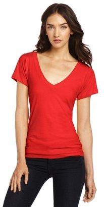 LnA Women's Short Sleeve Deep V-Neck Tee
