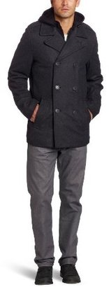 Levi's Men's Melton Peacoat with Zip-Out Bib and Hood